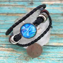 Load image into Gallery viewer, Vibrant Blue Fluid Art Leather Boho Bracelet