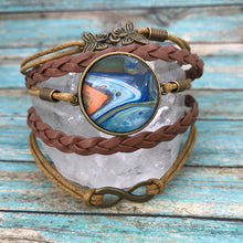 Load image into Gallery viewer, Orange Blue Fluid Art Braided Brown Leather Boho Bracelet