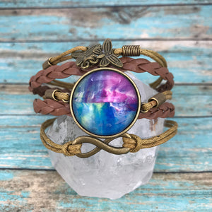 Magenta Blue Fluid Art Braided Brown Leather Boho Bracelet