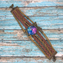 Load image into Gallery viewer, Magenta Blue Fluid Art Braided Brown Leather Boho Bracelet