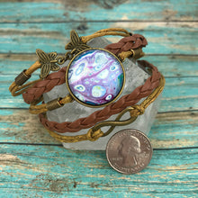 Load image into Gallery viewer, Purple Fluid Art Braided Brown Leather Boho Bracelet