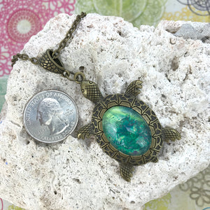 Lucky Green Turtle Wearable Art Necklace