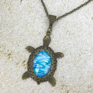 Blue Bronze Turtle Wearable Art Necklace