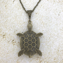 Load image into Gallery viewer, Blue Bronze Turtle Wearable Art Necklace