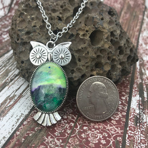 Green Purple Owl Abstract Art Necklace