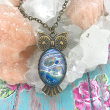 Load image into Gallery viewer, Blue Orange Bronze Owl Art Necklace