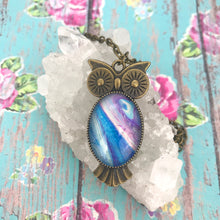 Load image into Gallery viewer, Blue Purple Bronze Owl Art Necklace