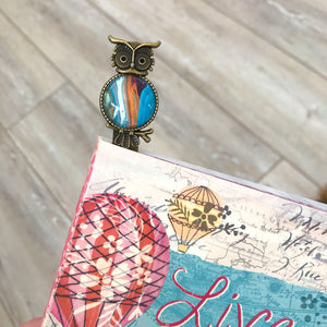 Orange Blue Owl Bookmark with Fluid Artwork