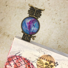 Load image into Gallery viewer, Blue Purple Owl Bookmark with Fluid Artwork