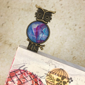 Blue Purple Owl Bookmark with Fluid Artwork