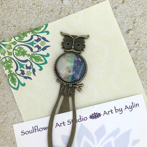 Purple White Owl Bookmark with Fluid Artwork