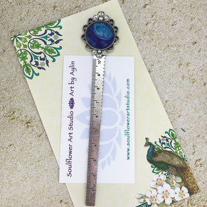 Purple Blue Bookmark Ruler with Fluid Artwork