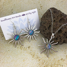 Load image into Gallery viewer, Blue Purple Sun Necklace & Earrings Set