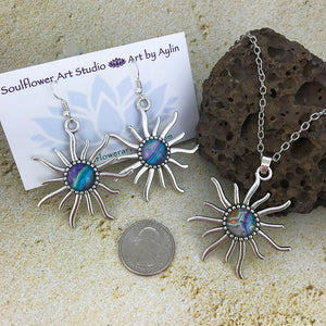 Blue Purple Sun Necklace & Earrings Set