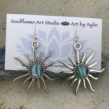 "Load image into Gallery viewer, ""Morning Glory"" Wearable Art Sun Earrings"
