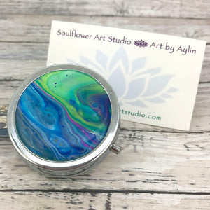 Stylish Pillbox with Blue Green Abstract Artwork