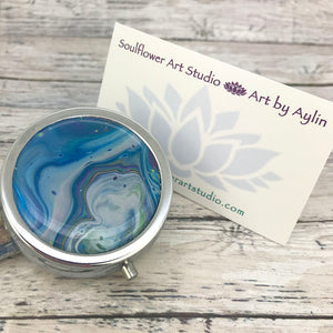 Stylish Pillbox with Blue White Abstract Artwork