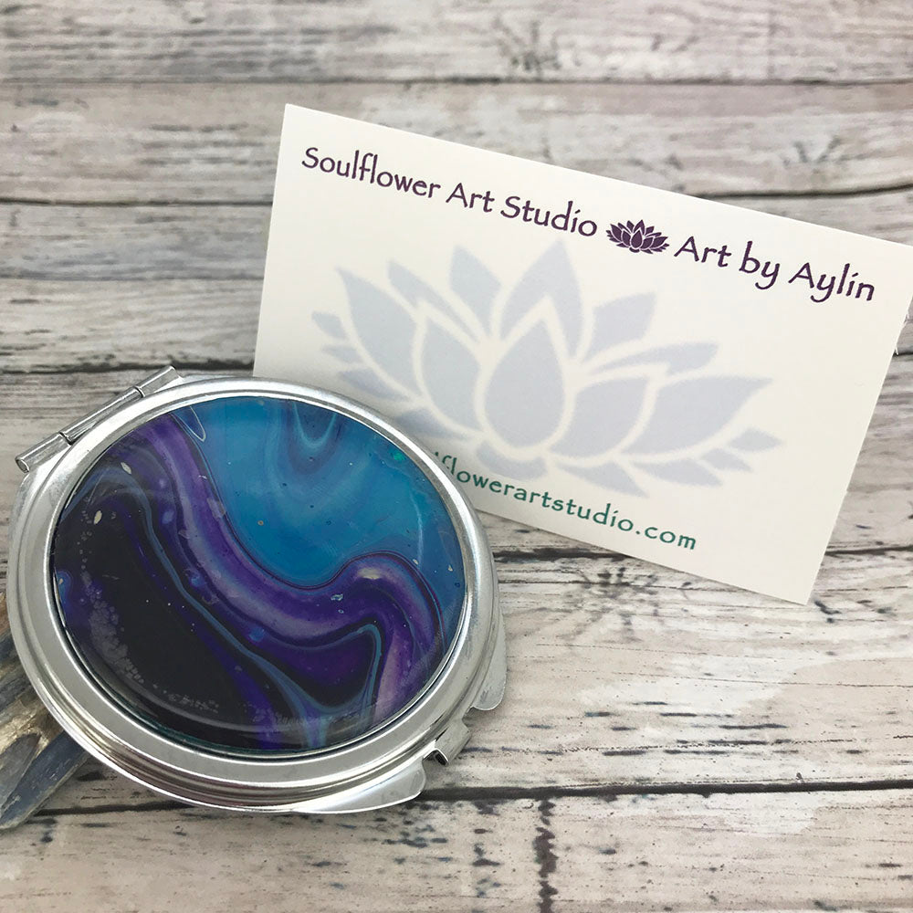 Compact Mirror with Blue Purple Artwork