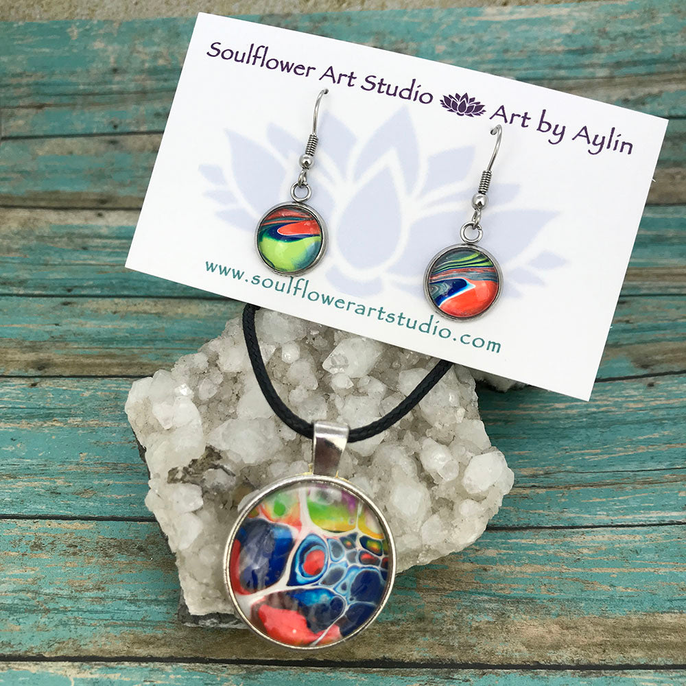 Colorful Abstract Necklace & Earrings Set