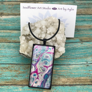 Pink White Blue Abstract Artwork Necklace