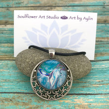 Load image into Gallery viewer, Sky Blue Stars Wearable Art Necklace