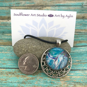 Sky Blue Stars Wearable Art Necklace