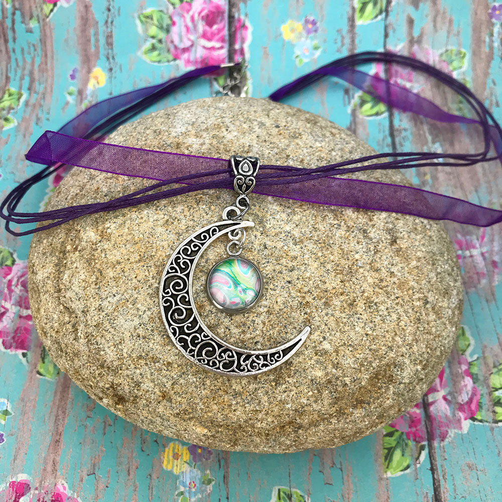 Crescent Moon Boho Fluid Art Pendant with Purple Organza Ribbon Necklace