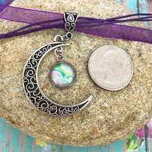 Load image into Gallery viewer, Crescent Moon Boho Fluid Art Pendant with Purple Organza Ribbon Necklace