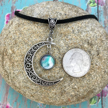 Load image into Gallery viewer, Crescent Moon Boho Blue White Fluid Art Necklace