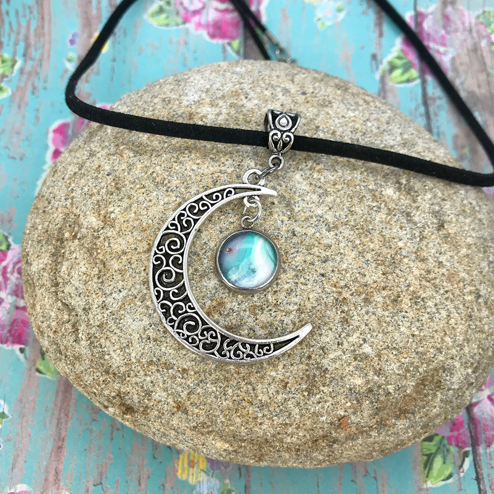 Crescent Moon Boho Blue White Fluid Art Necklace