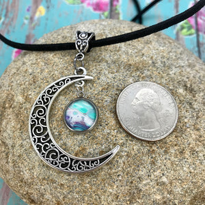 Crescent Moon Blue Purple Fluid Art Boho Necklace