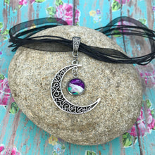 Load image into Gallery viewer, Crescent Moon Boho Fluid Art Pendant with Black Organza Ribbon Necklace