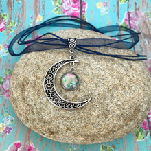 Load image into Gallery viewer, Crescent Moon Boho Fluid Art Pendant with Navy Blue Organza Ribbon Necklace