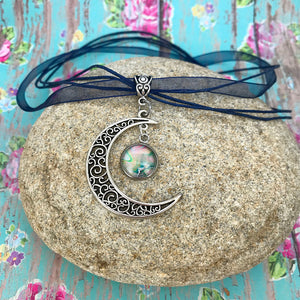 Crescent Moon Boho Fluid Art Pendant with Navy Blue Organza Ribbon Necklace