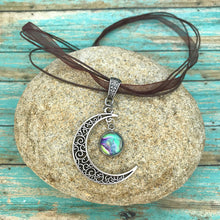 Load image into Gallery viewer, Crescent Moon Boho Fluid Art Pendant with Brown Organza Ribbon Necklace