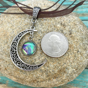 Crescent Moon Boho Fluid Art Pendant with Brown Organza Ribbon Necklace