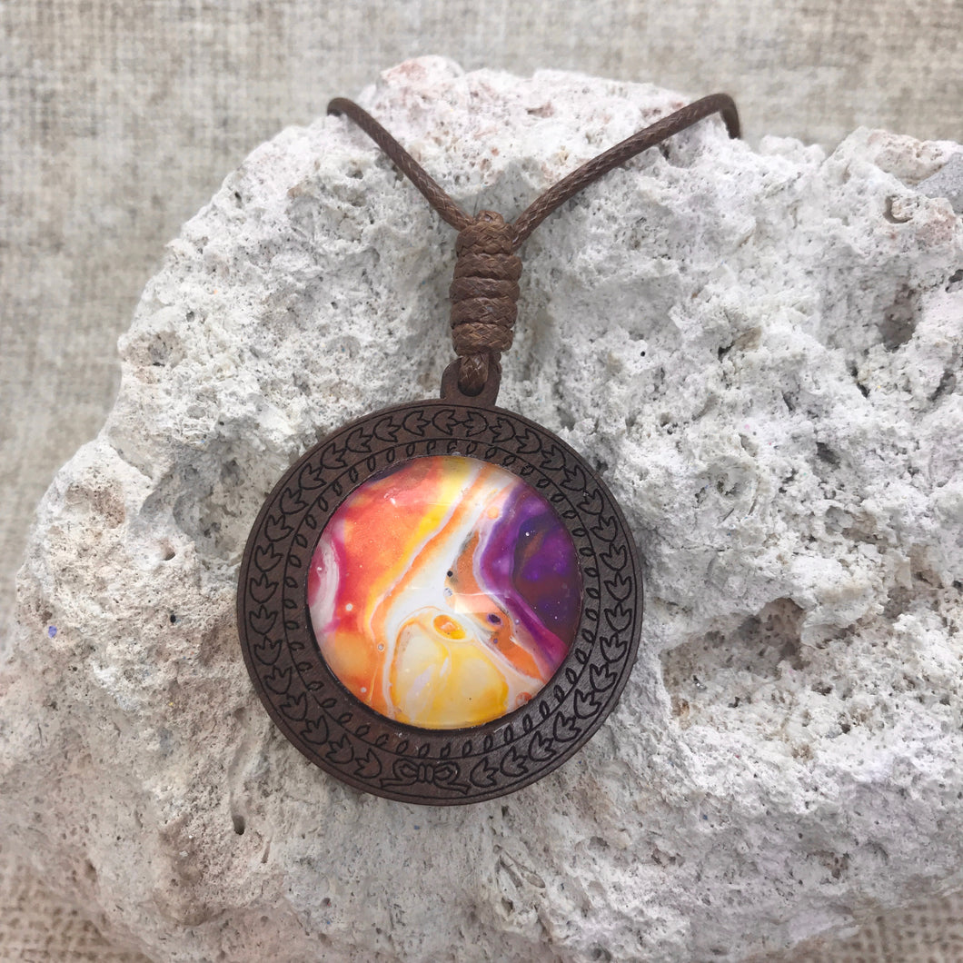 Eternal Flame Boho Abstract Art Wood Necklace