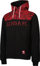 Load image in gallery viewer, SEVILLA FC ADULT BLACK SWEATSHIRT WITH HAT AND ZIPPER