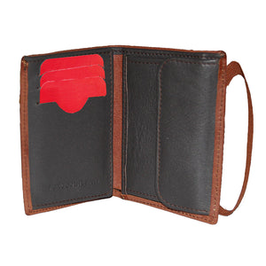 SEVILLA FC BROWN WALLET WITH ELASTIC LEATHER CLOSURE