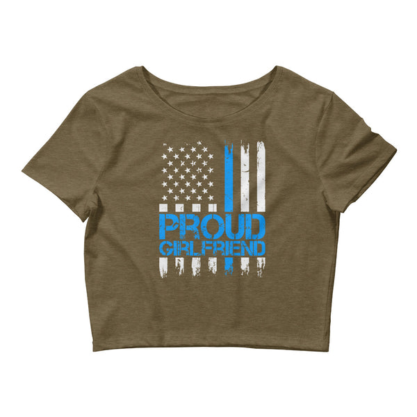 Proud Blue Line Girlfriend Women's Crop Tee