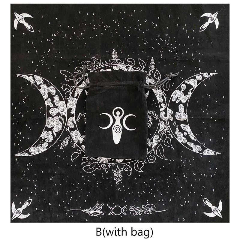"Altar Tarot Cloth Triple Goddess Moon Phases Astrology Tarot Tablecloth 19""×19\"" K1KD"
