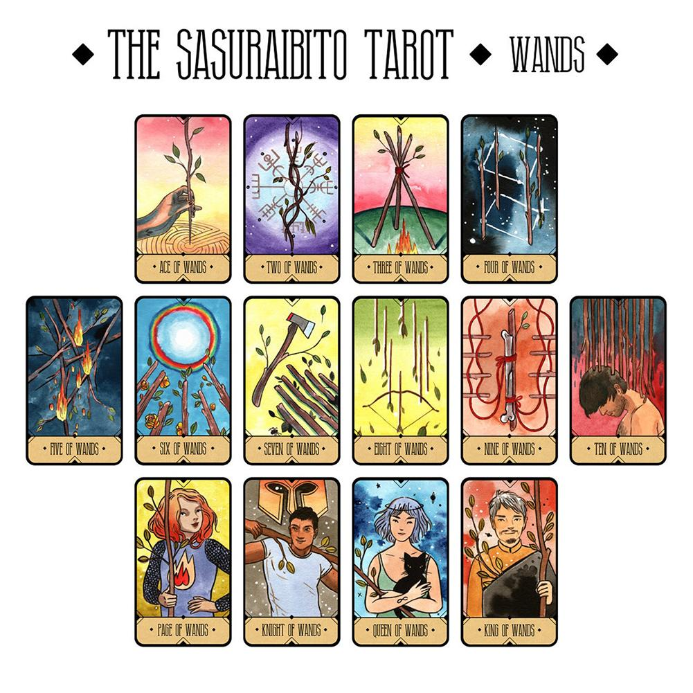78pcs THE SASURAIBITO Tarot Card Amazing English Guidebook Book Board Games Divination Gilt Edge Tarot Deck Cards