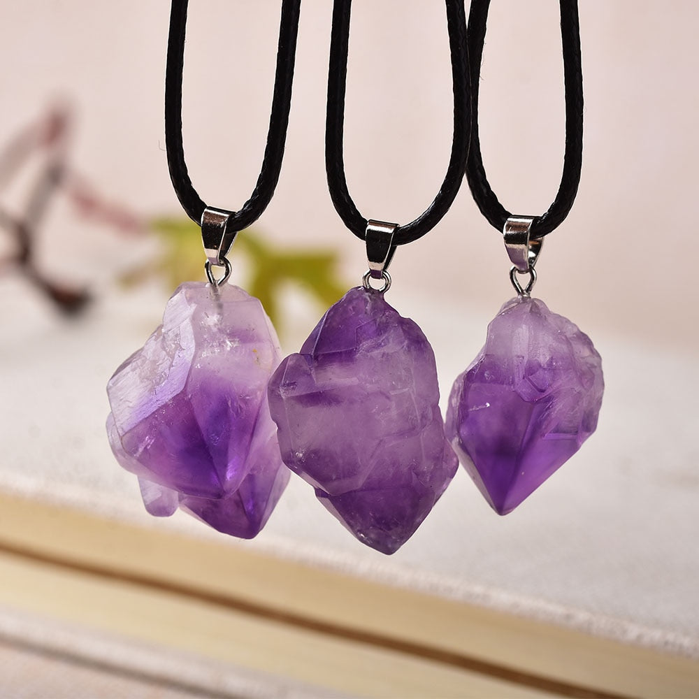 1PC Fashion Simple Amethyst Pendant Natural Quartz Stone Raw Crystals For Men Women Jewelry Purple Reiki Mineral Specimen Gift