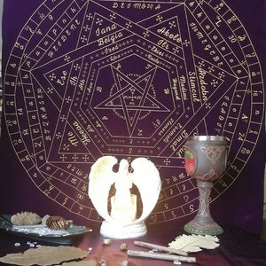 Tarot Card Tablecloth Sigils of Elohim Mysterious Pattern Astrology Divination Altar Velvet Cloth Board Game Tarot Card Mat