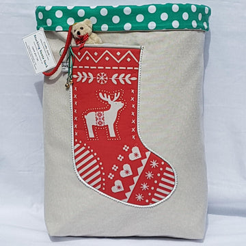 Santa Sack - Scandi Red Reindeer Green