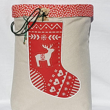 Santa Sack - Scandi Red Reindeer Lollipop