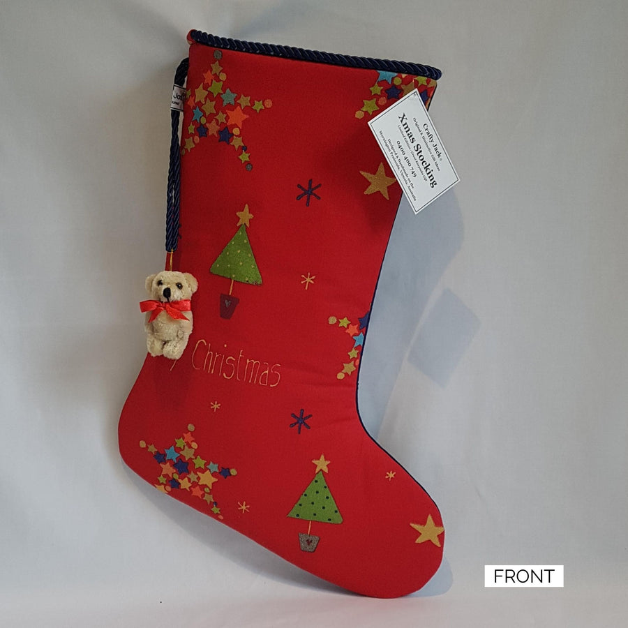 Christmas Stocking - Red Snowflakes