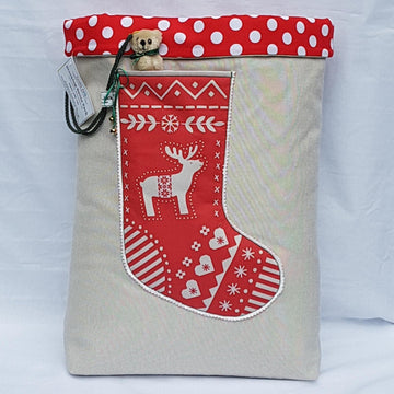 Santa Sack - Scandi Red Reindeer Red