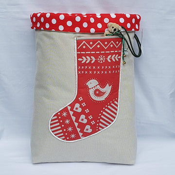 Santa Sack - Scandi Red Dove