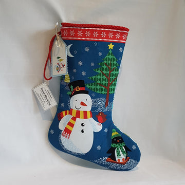stocking snowman blue